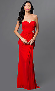 Long Mesh Strapless Sweetheart Prom Dress by Alyce