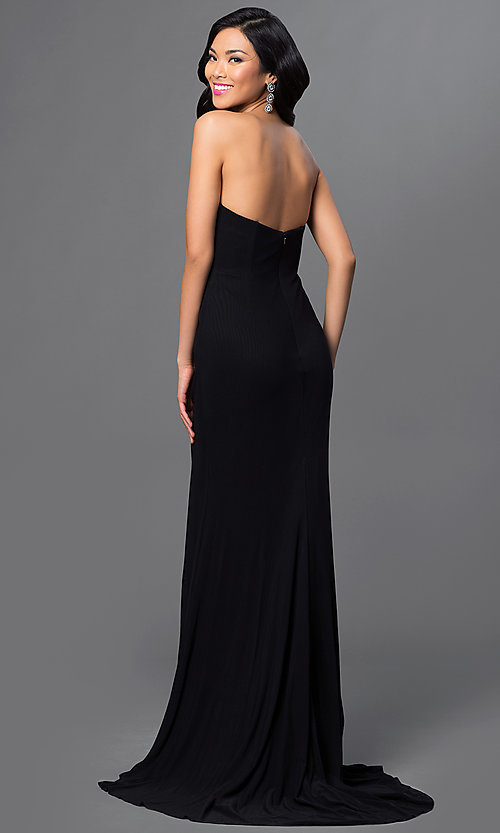 Image of long strapless sweetheart dress Style: AL-35805 Back Image