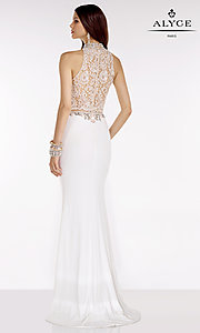 Image of long high neck lace top beaded details sheer waist dress  Style: AL-A6590 Back Image