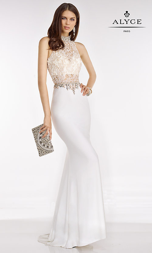 Image of long high neck lace top beaded details sheer waist dress  Style: AL-A6590 Front Image