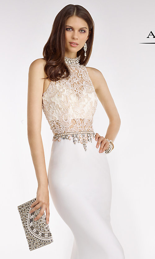 Image of long high neck lace top beaded details sheer waist dress  Style: AL-A6590 Detail Image 1