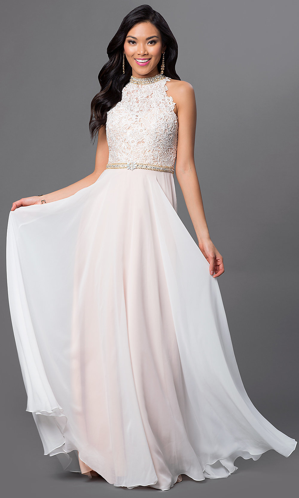 White dress chiffon - Hover To Zoom