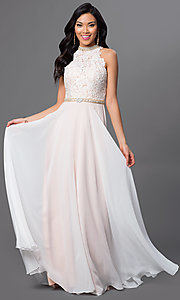 Image of long high-neck lace and chiffon dress Style: AL-A6592 Front Image