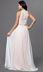 Image of long high-neck lace and chiffon dress Style: AL-A6592 Back Image
