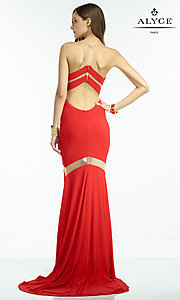 Image of long sleeveless dress with illusion cut-outs Style: AL-35820 Back Image