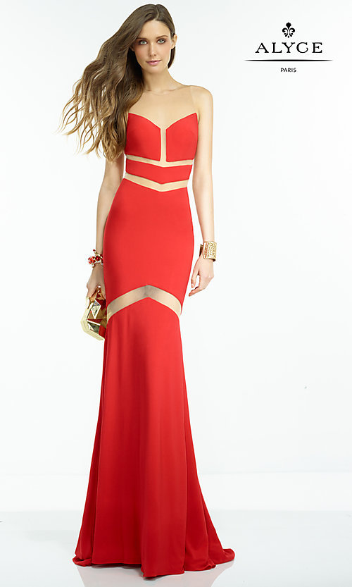 Image of long sleeveless dress with illusion cut-outs Style: AL-35820 Front Image