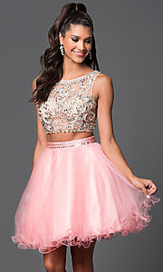 Image of short two-piece jewel-embellished prom dress Style: DQ-9213 Front Image