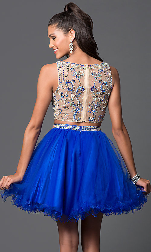 Image of short two-piece jewel-embellished prom dress Style: DQ-9213 Back Image