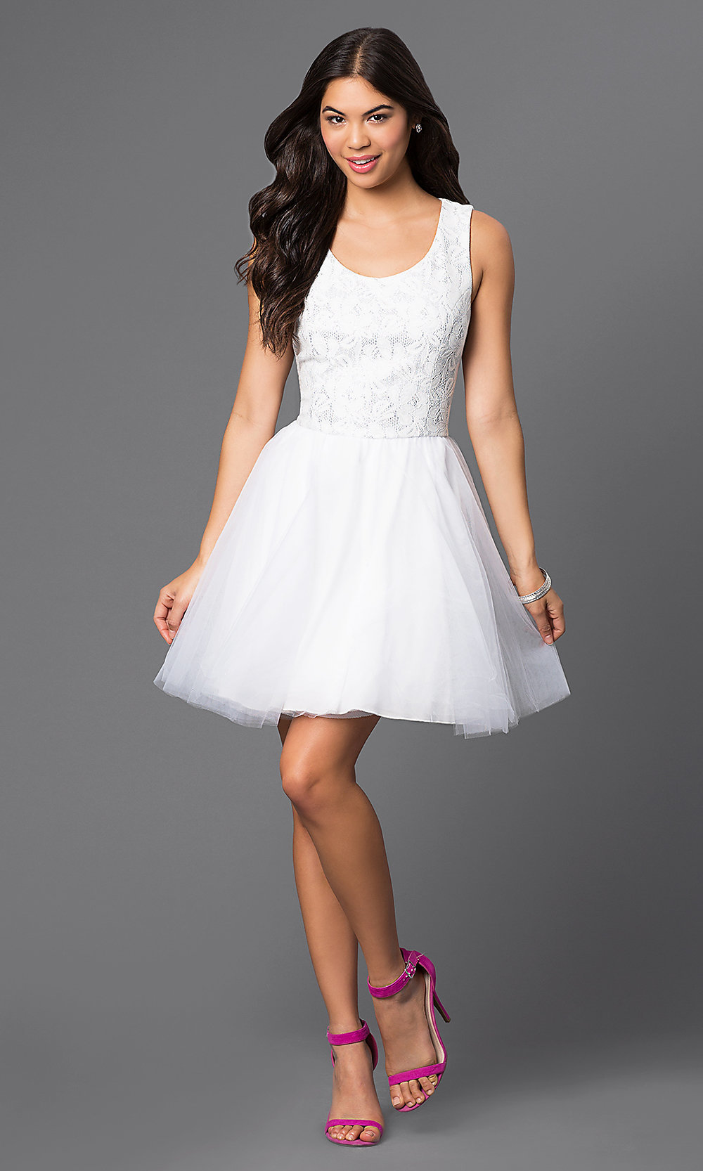 Short White Lace-Top Party Dress - PromGirl