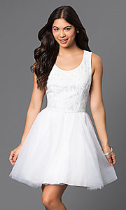 Short Sleeveless White Dress with Lace Top