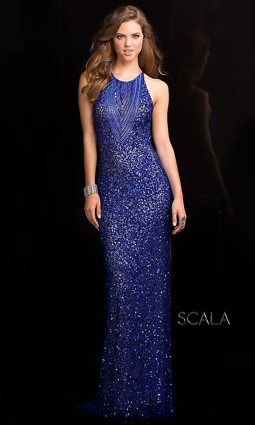 81be88267ff Open Back Sequin Prom Dress by Scala