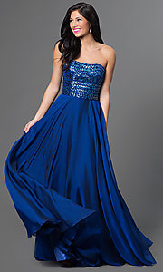 Strapless Floor Length Embellished Top Dress by Sherri Hill