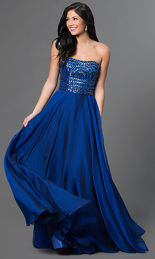 Image of floor length strapless embellished top dress Style: SH-1984 Front Image