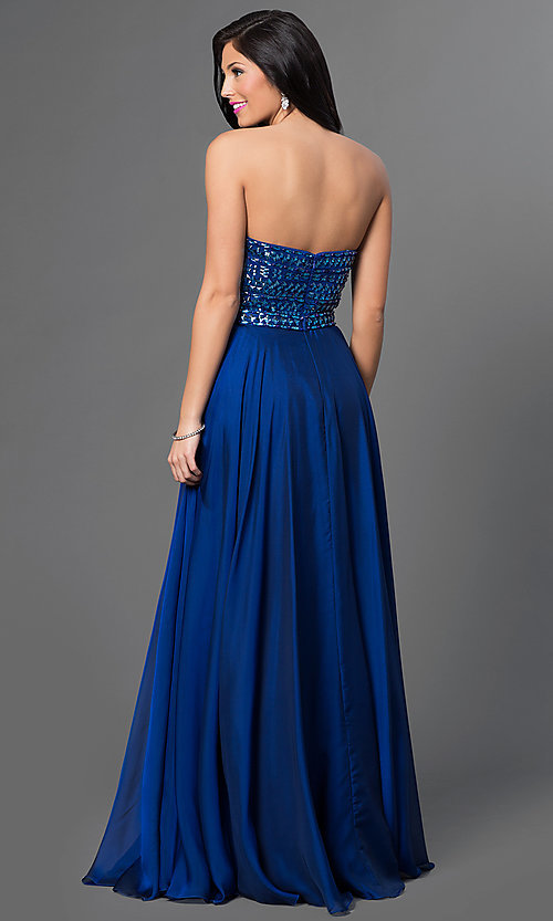 Image of floor length strapless embellished top dress Style: SH-1984 Back Image