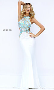 Image of open-back high-neck prom dress with cut outs by Sherri Hill. Style: SH-50153 Front Image