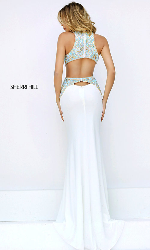 Image of open-back high-neck prom dress with cut outs by Sherri Hill. Style: SH-50153 Back Image