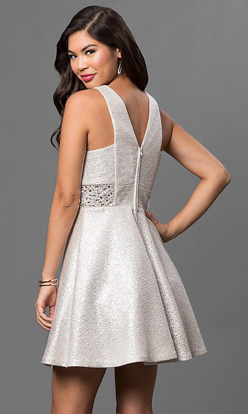Image of beige short sleeveless dress with embellished sides Style: DMO-J313266 Back Image