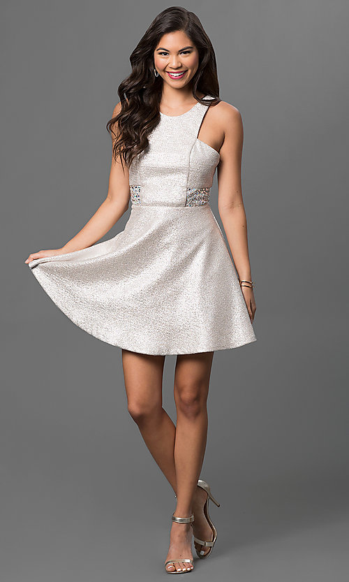 Image of beige short sleeveless dress with embellished sides Style: DMO-J313266 Detail Image 1