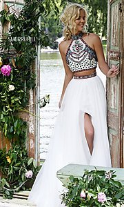 Image of Sherri Hill embroidered-top two-piece long prom dress. Style: SH-50075 Front Image