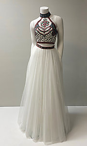 Image of embroidered-top two-piece long halter prom dress. Style: SH-50075 Front Image
