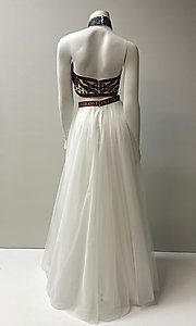 Image of embroidered-top two-piece long halter prom dress. Style: SH-50075 Back Image