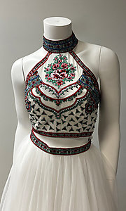 Image of embroidered-top two-piece long halter prom dress. Style: SH-50075 Detail Image 1