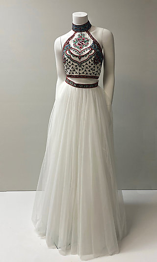 Embroidered-Top Two-Piece Long Halter Prom Dress