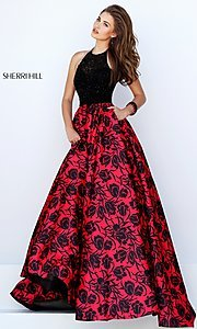 Floor Length Black and Red Print Halter Ball Gown by Sherri Hill