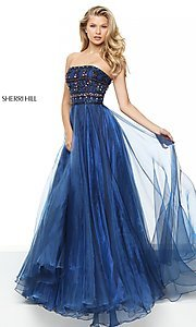 Image of strapless Sherri Hill ball gown with jeweled bodice. Style: SH-50344 Detail Image 1