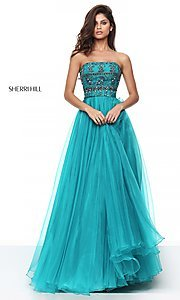 Strapless Sherri Hill Ball Gown with Jeweled Bodice