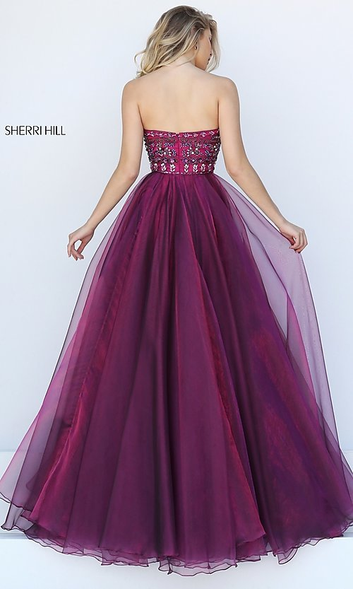 Image of strapless Sherri Hill ball gown with jeweled bodice. Style: SH-50344 Back Image