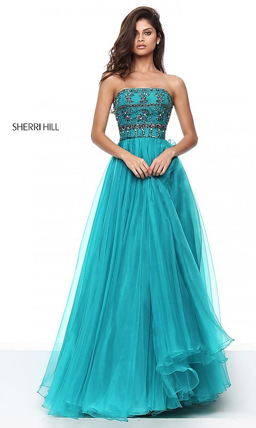 Image of strapless Sherri Hill ball gown with jeweled bodice. Style: SH-50344 Front Image