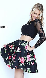 Image of short two-piece long-sleeve lace crop-top dress with floral-print skirt  Style: SH-50464 Detail Image 2