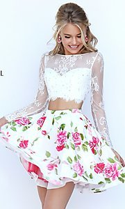 Image of short two-piece long-sleeve lace crop-top dress with floral-print skirt  Style: SH-50464 Front Image