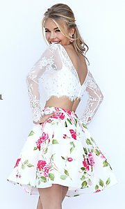 Image of short two-piece long-sleeve lace crop-top dress with floral-print skirt  Style: SH-50464 Back Image