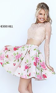 Image of short two-piece long-sleeve lace crop-top dress with floral-print skirt  Style: SH-50464 Detail Image 1