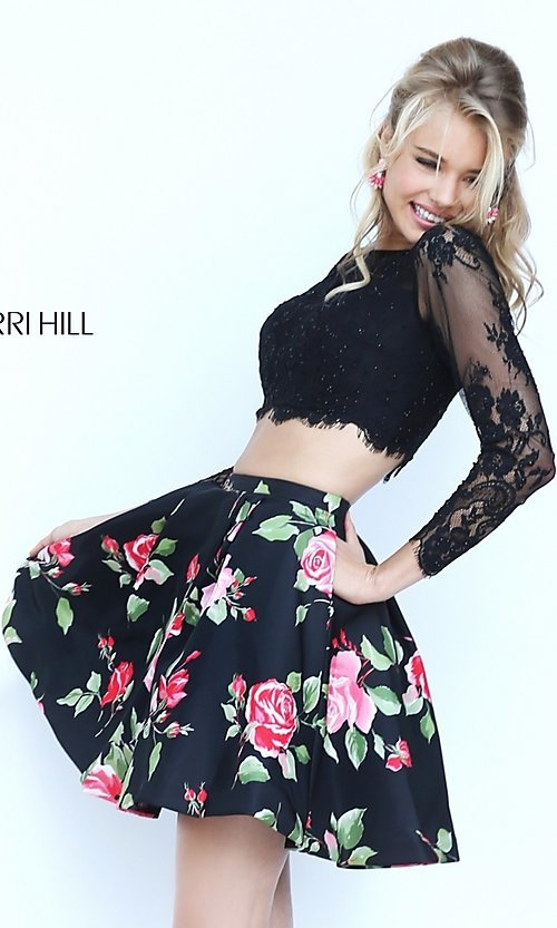Image of short two piece long sleeve lace crop top floral print skirt dress Style: SH-50464 Detail Image 2