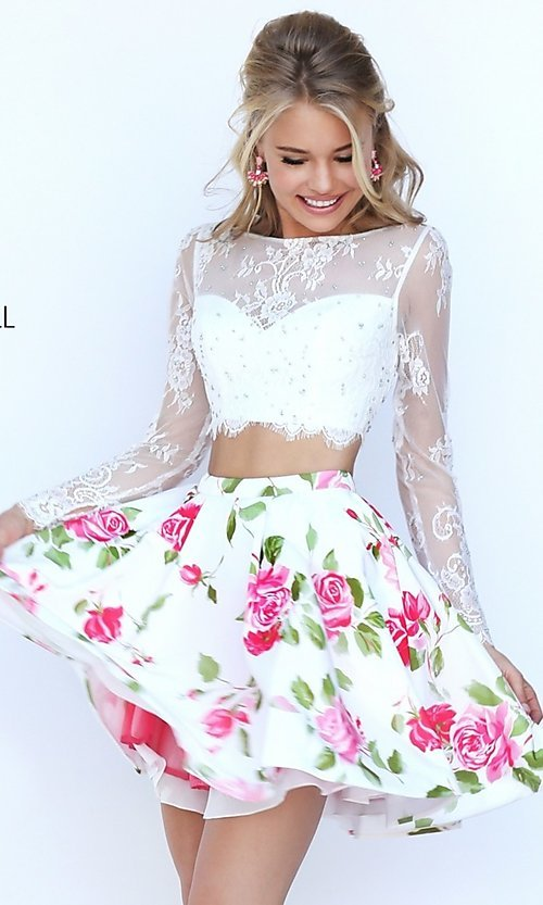 Image of short two piece long sleeve lace crop top floral print skirt dress Style: SH-50464 Front Image