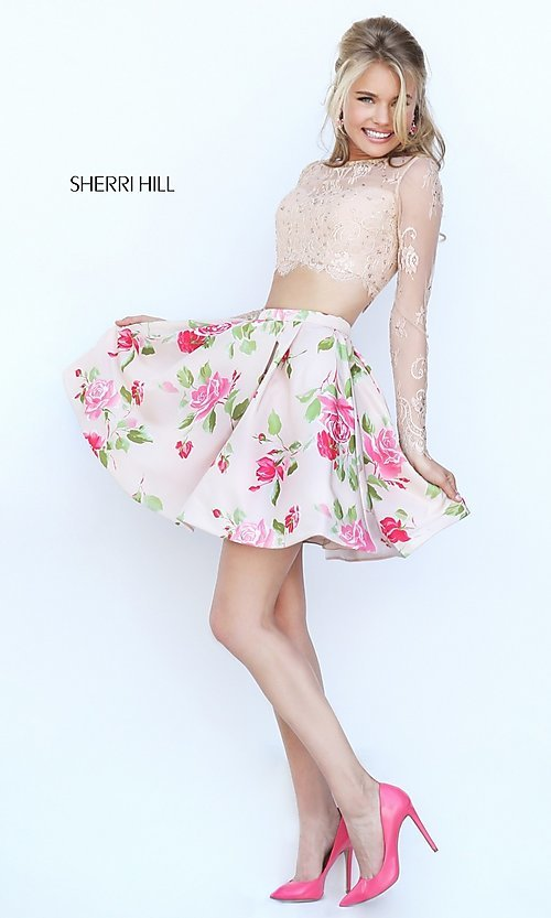 Image of short two-piece long-sleeve lace crop-top dress with floral-print skirt  Style: SH-50464 Detail Image 3