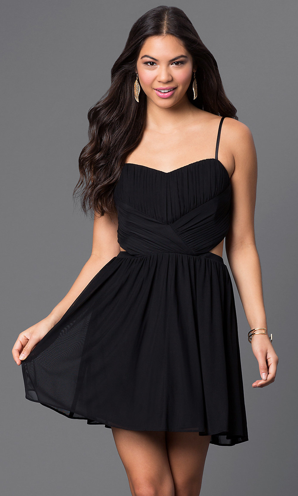 Short Spahgetti Strap Dress With Cut Outs Promgirl