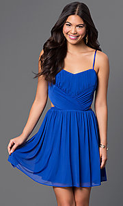Image of short spaghetti-strap dress with cut-outs Style: MQ-2870504 Front Image