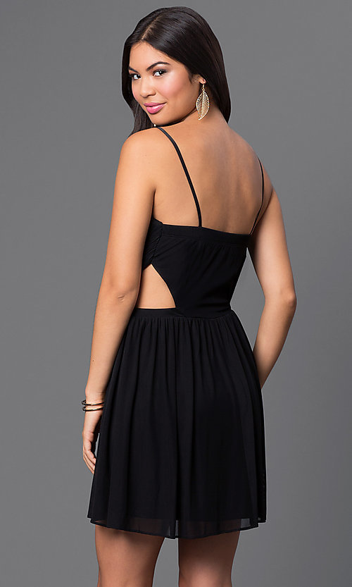 Image of short spaghetti-strap dress with cut-outs Style: MQ-2870504 Back Image
