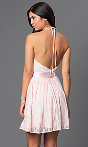 Image of short pink lace halter dress by Masquerade. Style: MQ-3670447 Back Image