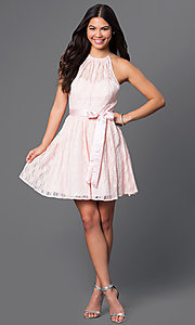 Image of short pink lace halter dress by Masquerade. Style: MQ-3670447 Detail Image 1