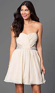 Image of short strapless dress with sheer sides Style: MQ-1110845 Front Image