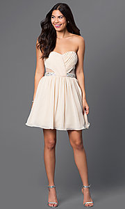 Image of short strapless dress with sheer sides Style: MQ-1110845 Detail Image 1