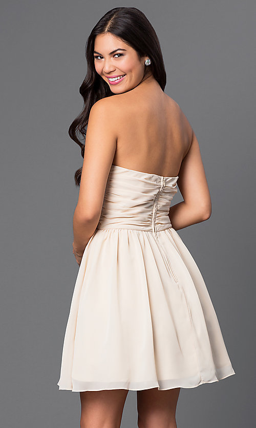 Image of short strapless dress with sheer sides Style: MQ-1110845 Back Image