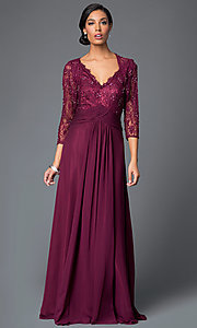 Sleeveless V-Neck Lace Bodice Floor Length Dress with Matching Jacket by Elizabeth K