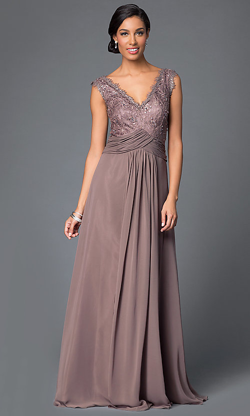 Sequin-Lace-Bodice Long MOB Sleeveless Dress -PromGirl