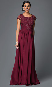 Image of cap-sleeve scoop-neck long prom dress by Elizabeth K. Style: FB-GL1398Y Detail Image 2